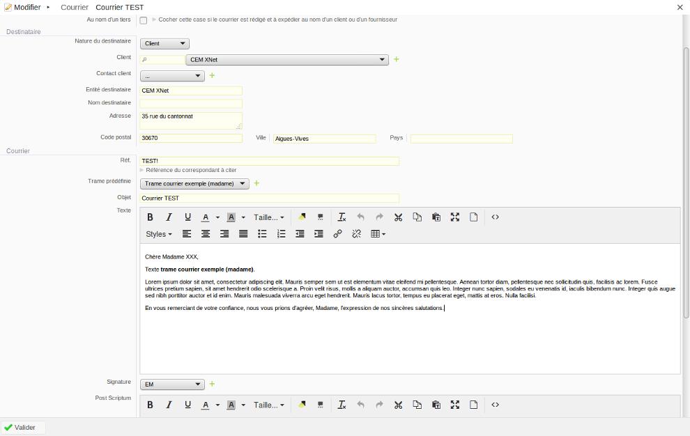 Exemple d'édition d'un document PDF selon un modèle prédéfini