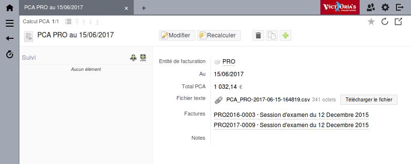 Capture écran application CRM - Calcul des Produits Constatés d'Avance