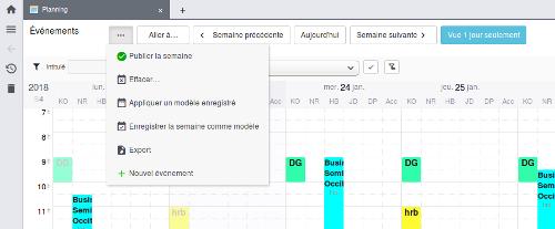 Exemple menu réduit sur planning